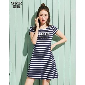 森马连衣裙女2017夏装新款韩版显瘦条纹字母印花甜美海滩裙学院风