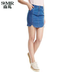 森马夏装新款 牛仔短裙女装韩版中低腰百搭牛仔包裙半身裙