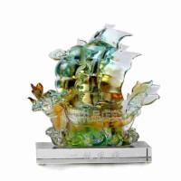 一帆风顺龙船琉璃摆件 商务礼品办公室桌面装饰 创意礼品