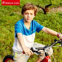 探路者Toread kids17夏季新款 男童拼色户外弹力圆领短袖T恤