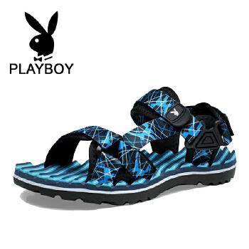 花花公子夏季新款男士凉鞋男士沙滩鞋透气皮凉鞋英伦凉鞋男 德 CX39520