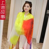 上海故事韩版羊绒印花戒指绒长款春秋季披肩两用女百搭围巾夏季空调围巾
