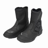 黑色公路摩托车赛车靴子越野防水中筒靴