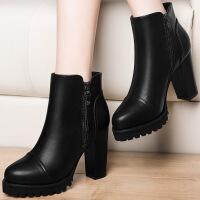 莫蕾蔻蕾女鞋秋冬粗跟马丁靴高跟低筒靴时尚短靴 6D555