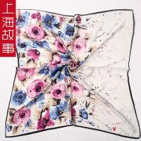 上海故事纯桑蚕丝巾 纯真丝丝巾围巾 大方巾 女春季方巾