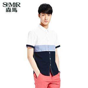 森马夏装新款短袖衬衫 男士韩版休闲上衣撞色拼接百搭衬衣 潮
