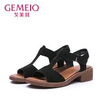 戈美其2017夏季新款女一字扣欧美优雅高跟鞋复古粗跟凉鞋3753315