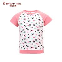 探路者童装TOREAD户外  夏装女童风格系列落肩袖印花圆领短袖T恤