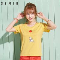 森马短袖T恤女2017夏装新款半袖上衣韩版纯棉学生休闲印花体恤潮