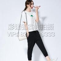 休闲运动套装女夏短袖两件套大码宽松显瘦2016七分裤韩版潮