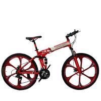 禧玛诺指拨山地车26寸自行车一体轮减震折叠车碟刹型变速车