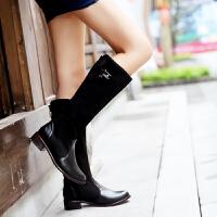 彼艾2016欧美秋冬女靴子平底显瘦长靴低跟圆头高筒靴子平跟骑士靴