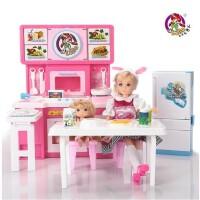 乐吉儿芭比娃娃礼盒玩具 梦幻大厨房 芭比娃娃套装女孩过家家儿童玩具 六一儿童节生日礼物 H28A