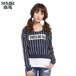 森马长袖T恤 春装 女士竖条纹字母印花两件套韩版潮