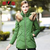 貉子大毛领冬装保暖外套 脱卸帽修身中长款羽绒服女