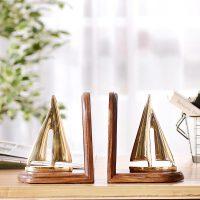 奇居良品 印度家居装饰摆件 铜木工艺帆船书档书立书靠