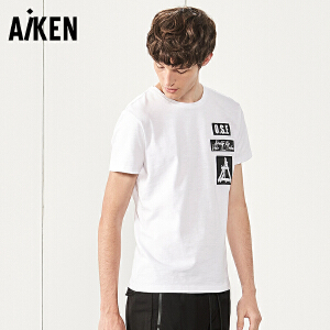 Aiken短袖T恤男士2017夏装新款修身体恤男潮白色圆领半袖上衣纯棉