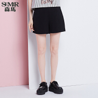 森马休闲裤 夏装 女士简约纯色高腰宽松休闲短裤热裤韩版