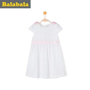 巴拉巴拉女童连衣裙小童宝宝夏季童装儿童裙子纯色公主裙