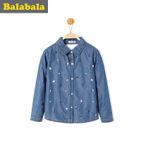巴拉巴拉女童长袖衬衫中大童学生上衣冬装童装儿童衬衣女
