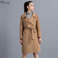 秋冬女士中长款外套翻领九分袖系带收腰双面羊毛大衣C16008