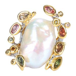 戴和美珠宝首饰戒指 精选天然珍珠随形个性镶嵌戒指