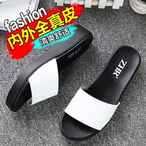 ZHR2017夏季新品真皮拖鞋女韩版平底凉拖鞋学生平跟一字拖女鞋潮室外鞋M105