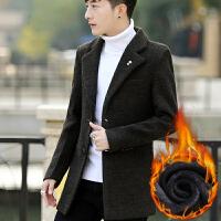 风衣男冬季韩版男士大衣中长款修身商务休闲男装加绒加厚可拆卸帽外套男