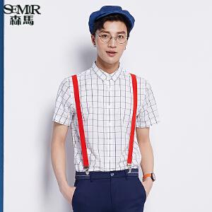 森马短袖衬衫 夏装 男士翻领格子纯棉直筒衬衣韩版潮男装
