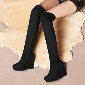 ZHR冬季清仓坡跟长筒靴长靴高筒女靴子学生弹力靴女过膝靴F02