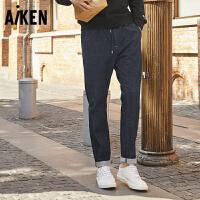 Aiken牛仔裤男2017秋季新款男士慢跑长裤弹力运动裤子潮流学生潮