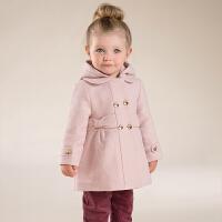 davebella戴维贝拉 女童秋冬新款长袖外套 宝宝中长款毛呢外套