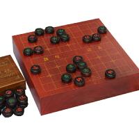 5cm大叶紫檀象棋 9公分红木象棋盘 独木制作的象棋套装 竹木刻线象棋盘子套装
