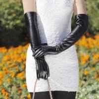送女朋友节日礼物 女士触摸屏过肘长款真皮毛一体手套 秋冬季保暖加厚加绒绵羊皮袖套手臂