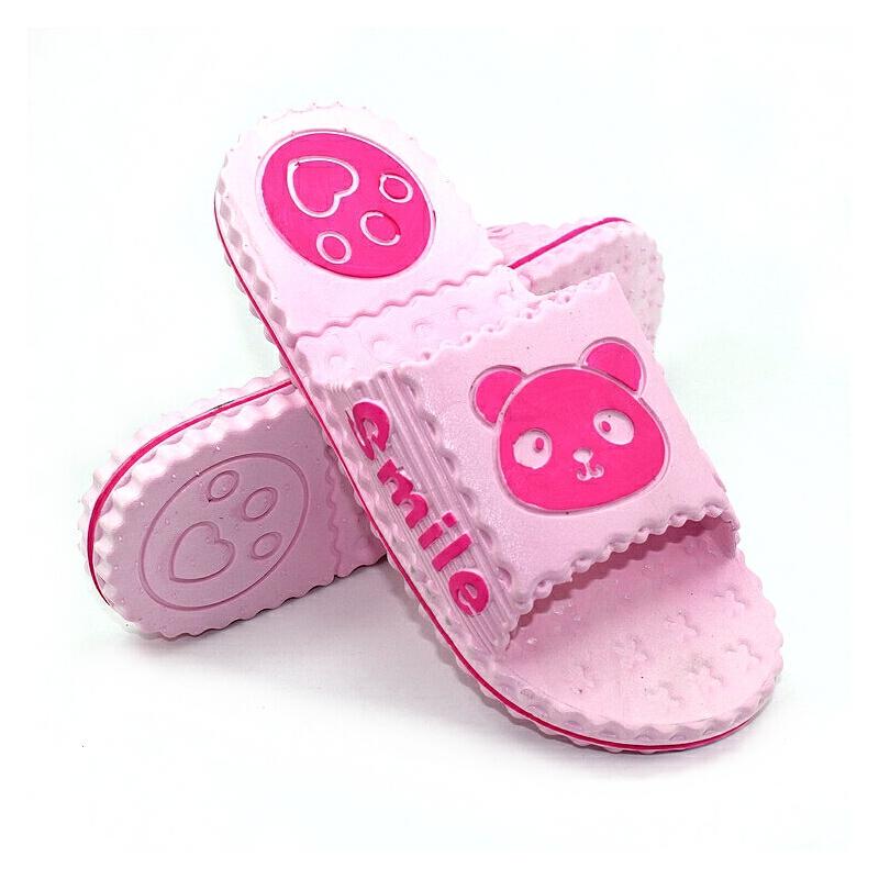 包邮亲子熊猫凉拖鞋女 男居家可爱浴室防滑地板软底夏季卡通宝宝_浅粉