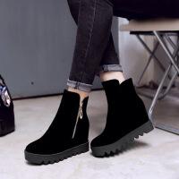 彼艾2016秋冬新款低筒短靴厚底坡跟休闲内增高女靴牛翻皮女士靴子