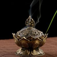 香净炉家居香炉佛教用品 合金香炉莲花香薰炉檀香炉盘