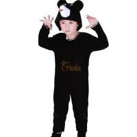 圣诞节宝宝表演服装连休 儿童演出服女黑色 跳舞蹈衣小熊动物造型套装
