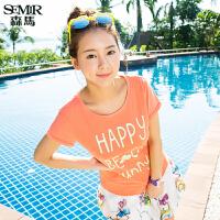 森马短袖T恤 夏装 女士圆领趣味字母印花纯棉直筒t恤韩版