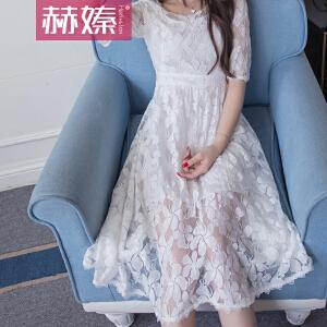 【满200减100】【hersheson赫��】2017夏季新款韩版女装中长款修身白色高腰印花A字蕾丝连衣裙H6641