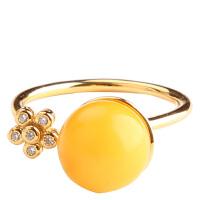 戴和美 精选天然琥珀蜜蜡镶嵌简约时尚925银戒指(附鉴定证书)均码可调节