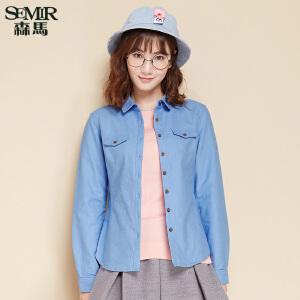 森马长袖衬衫 冬装 女士简约纯色方领纯棉合体衬衣韩版潮