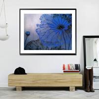 蓝色荷花精准印花十字绣套件蓝莲花丝线现代简约时尚油画小版满绣