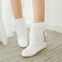彼艾2016新款秋冬季方跟低跟内增高雪地靴 流苏金属吊坠装饰中筒毛毛棉鞋女靴子