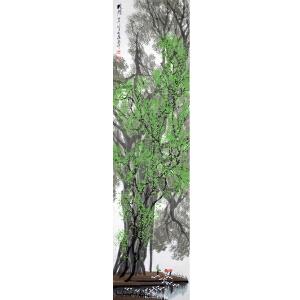 杜应强 岭南画派代表画家 国画作品《榕荫》