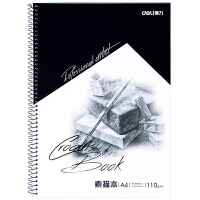 【满99-30满199-80】得力素描本7698 A4美术使用速写本 涂鸦绘画本 专业美术用纸 蓝色