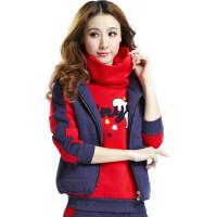 修身长袖运动服时尚大码女装秋冬立领套头三件套运动服休闲运动女士套装