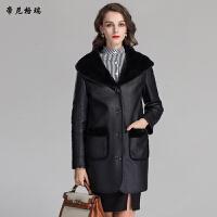冬季新款羊剪绒皮草外套时尚肩帽皮毛一体女装