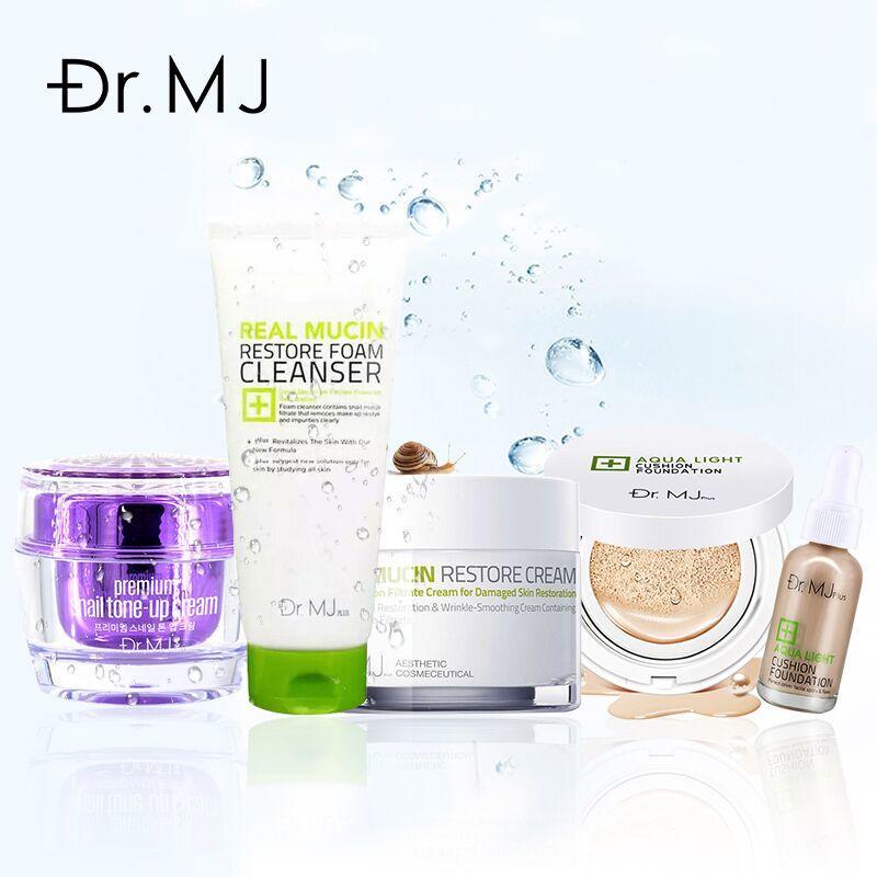 mj plus洗面奶+气垫bb+素颜霜+蜗牛霜套装 深层清洁补水保湿焕肤亮颜