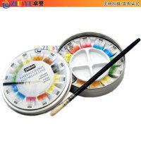 法国pebeo贝碧欧水彩 12色块状固体水彩颜料金属盒套装 带画笔